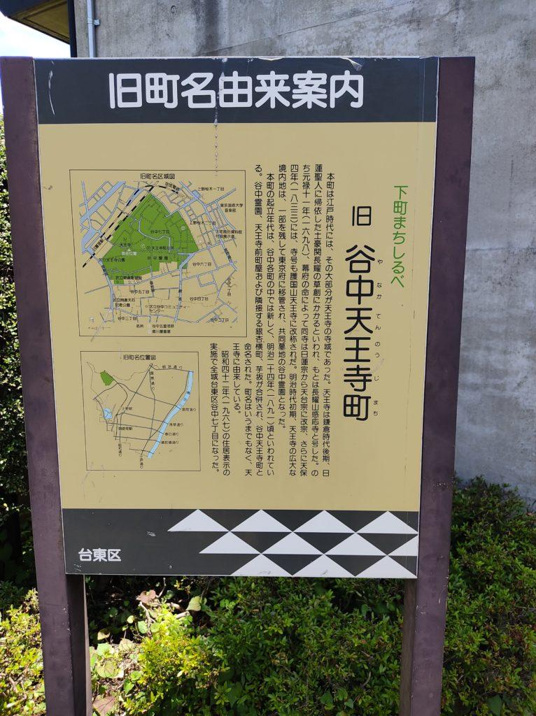 谷中天王寺旧町名由来案内