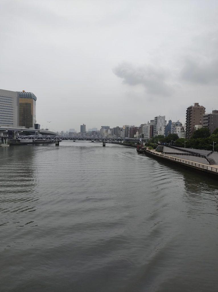 言問橋上から吾妻橋方向を撮影した写真。
