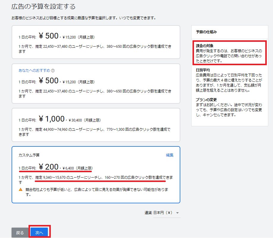 カスタム予算が設定され、1日平均が200円で月額上限が6,400円となっている。