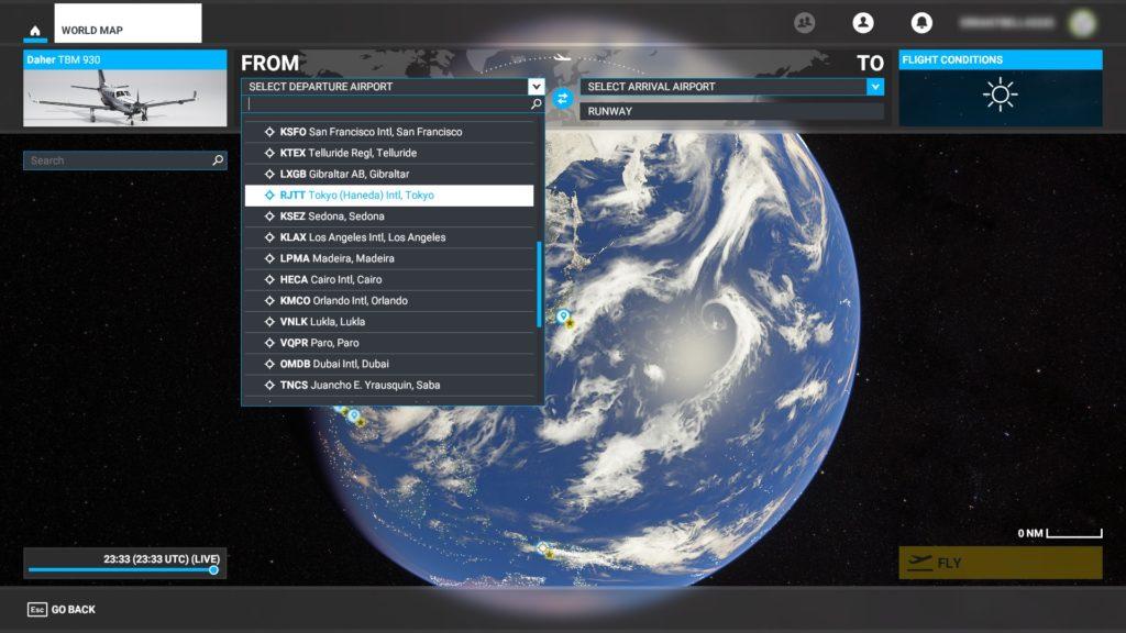 ワールドマップモードの出発地選択。