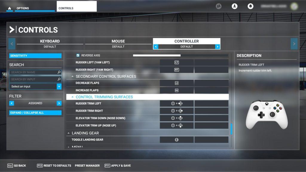 ゲームパッドの機能割り当て表。