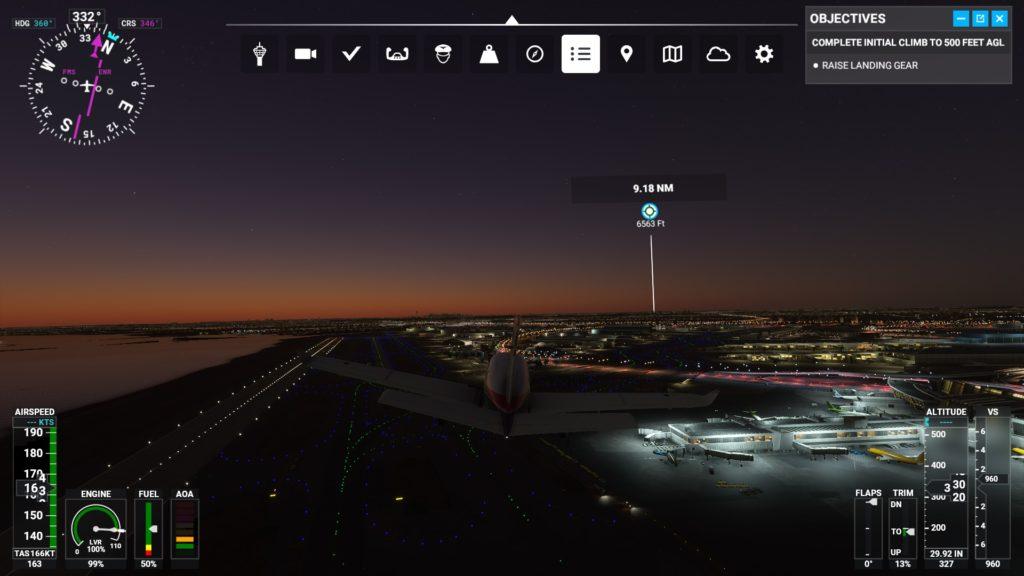 ジョン・F・ケネディ国際空港(KJFK)を離陸したところ。