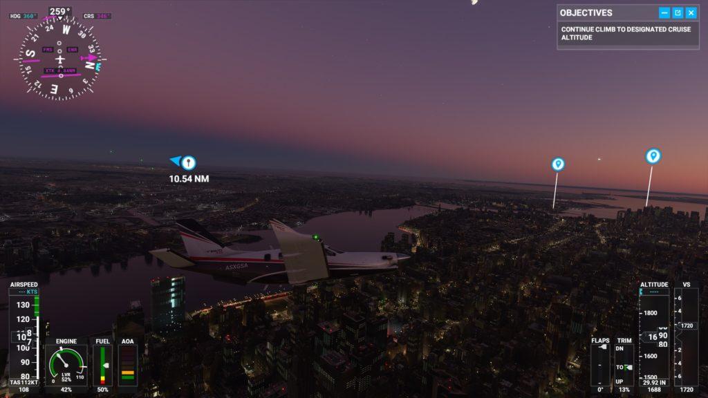 夕暮れ時のマンハッタン上空。