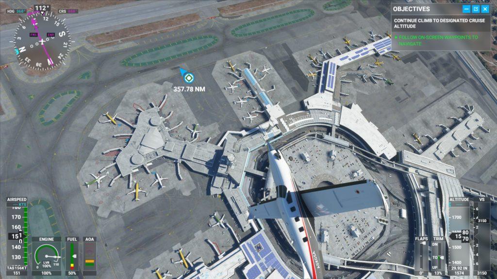 昼間のサンフランシスコ国際空港上空。