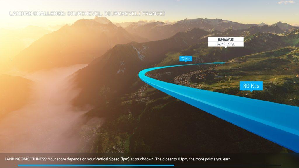 クールシュヴェル飛行場へのアプローチ概要画面。