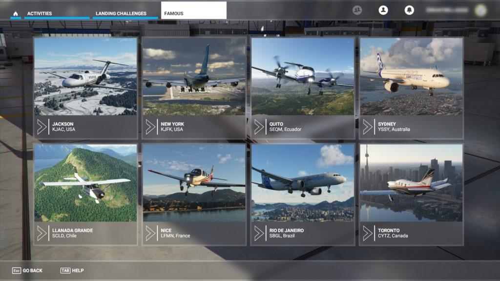 「ACTIVITIES」モード内の「Landing Challenges」で空港を選択する画面。