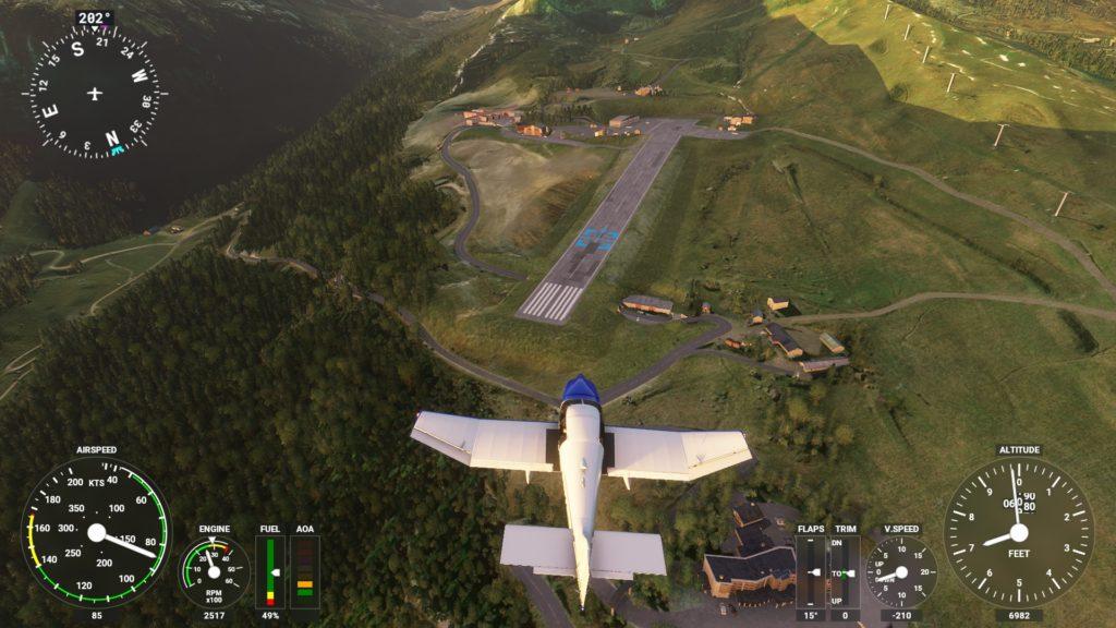 上空から見たクールシュヴェル飛行場。