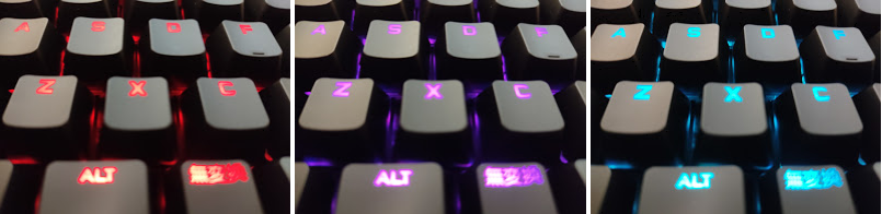 ロジクールのメカニカルキーボード「G PRO X」、キーボードが光っている様子。