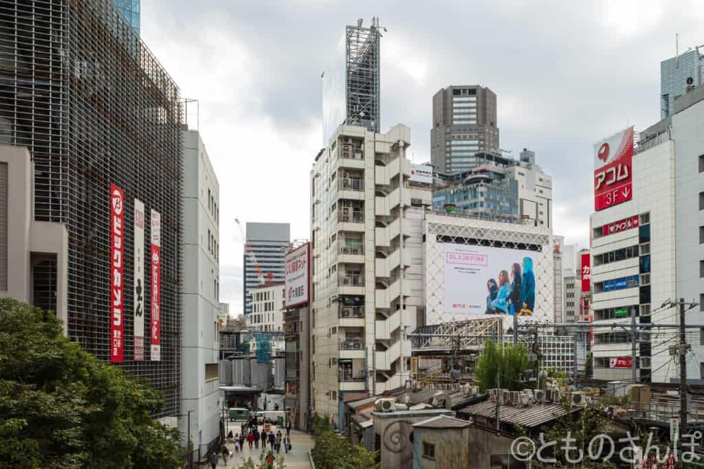 宮下公園渋谷駅側階段からの景色。