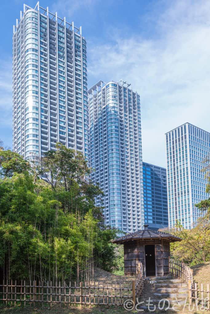 浜離宮恩賜庭園、「鴨塚」と高層ビル。