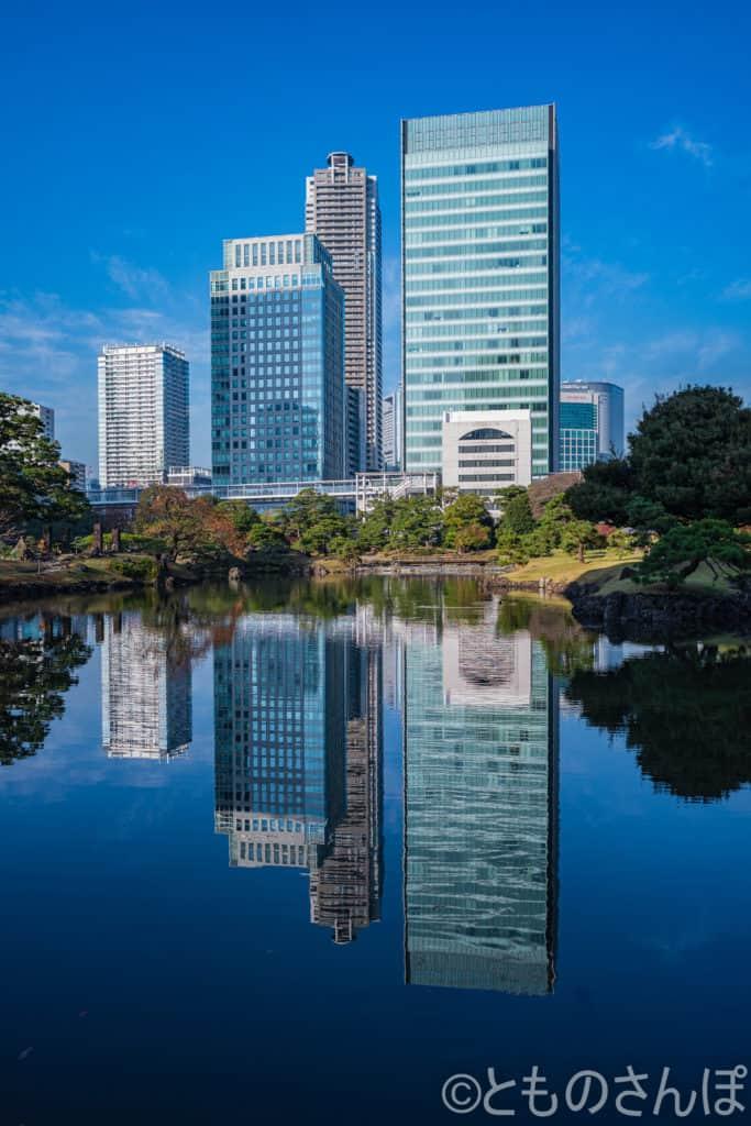 芝離宮恩賜庭園の池に反射する高層ビル。