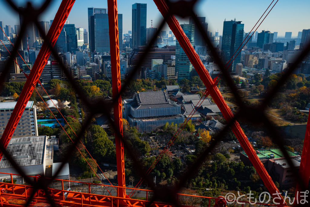東京タワーの外階段から見る増上寺。