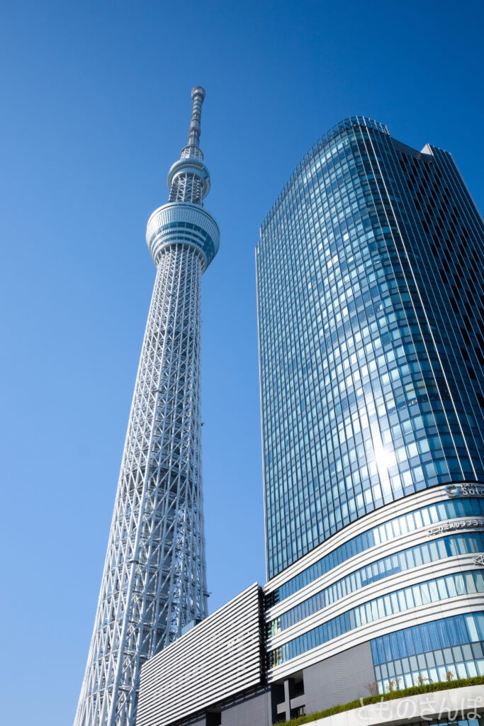 真下から撮影した東京スカイツリー。