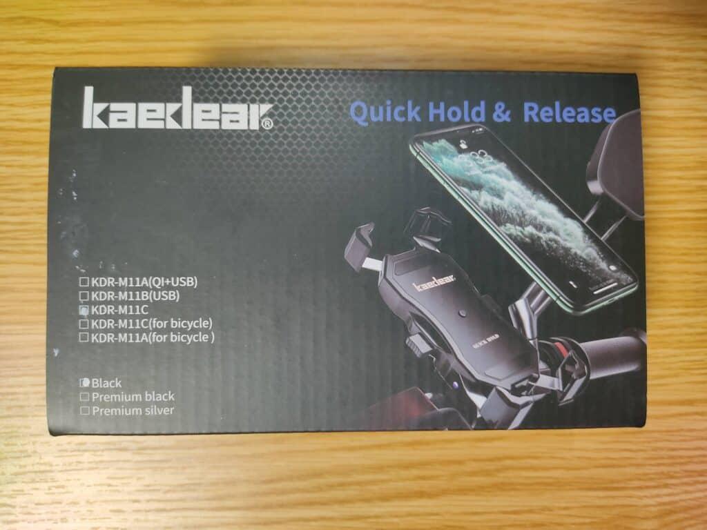 Kaedear(カエディア) バイク スマホホルダーのパッケージ。