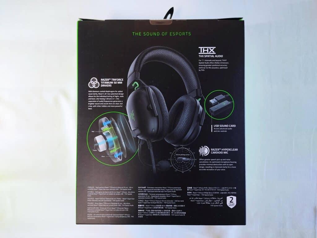 「Razer BlackShark V2」の化粧箱(裏面)。