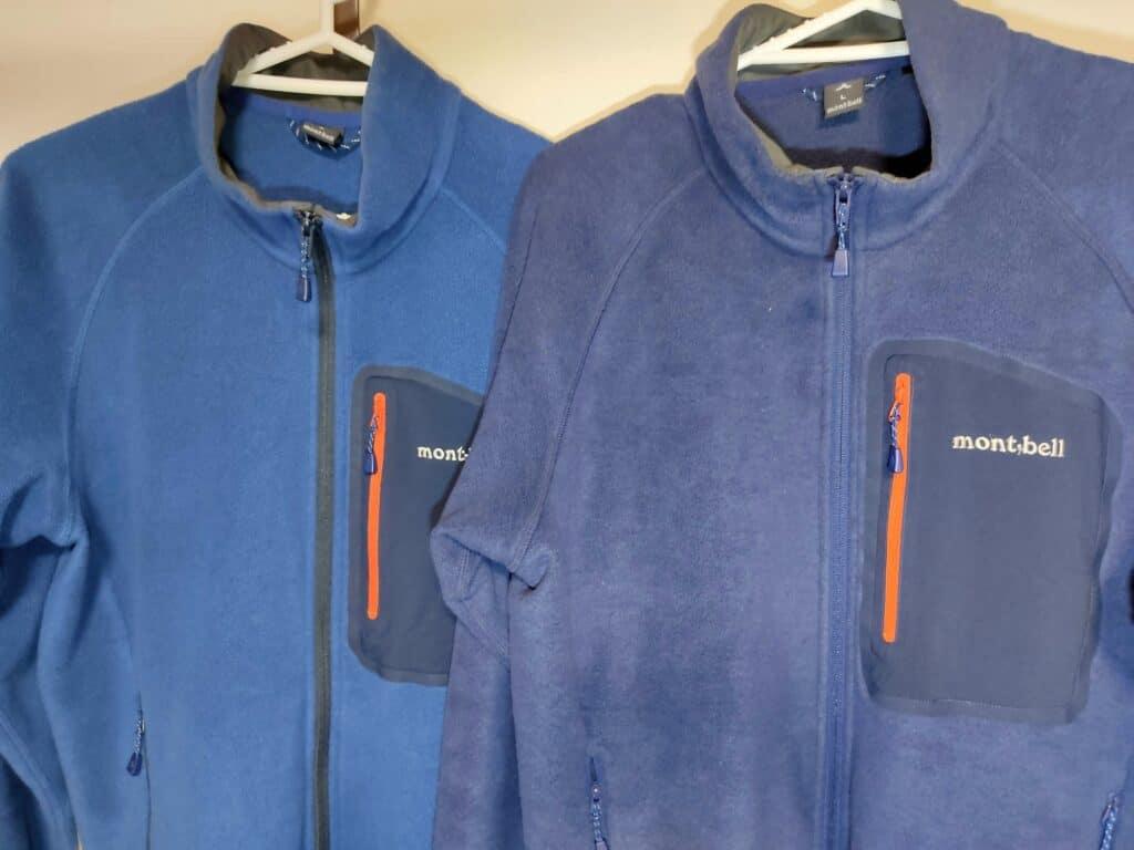 左側は一昨年、右は去年購入したモンベルの「クリマプラス100ジャケット」
