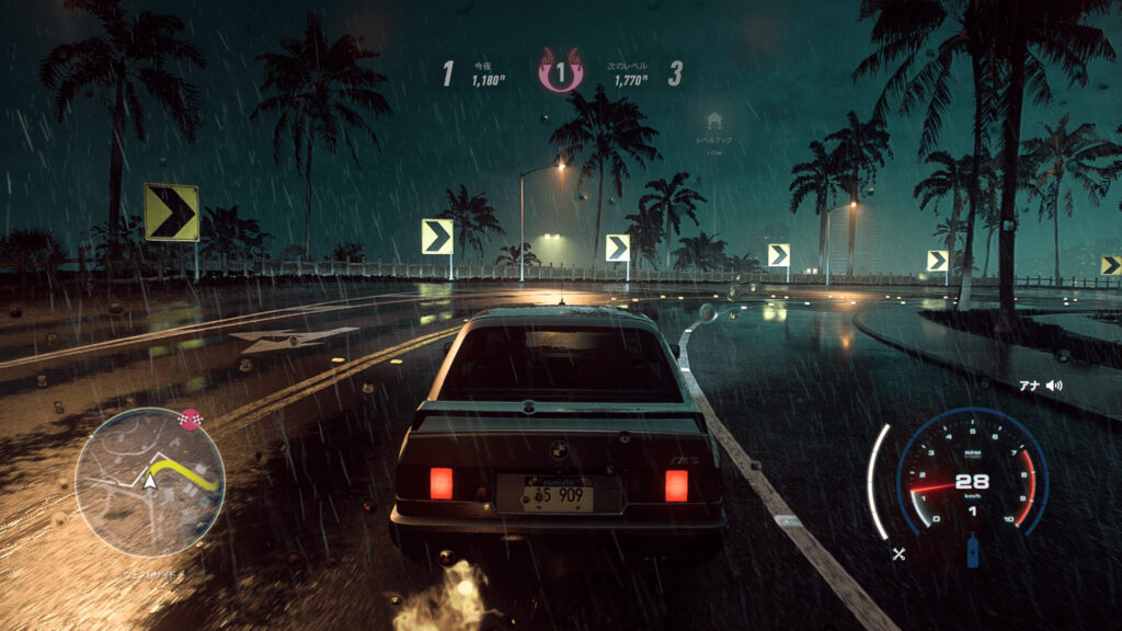 「Need for Speed Heat Deluxe Edition」、夜のレースの様子