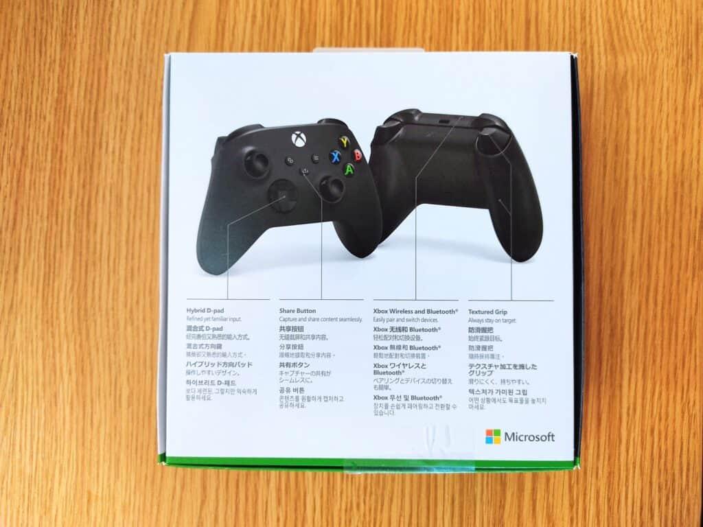 マイクロソフト「Xbox ワイヤレス コントローラー 」化粧箱の裏